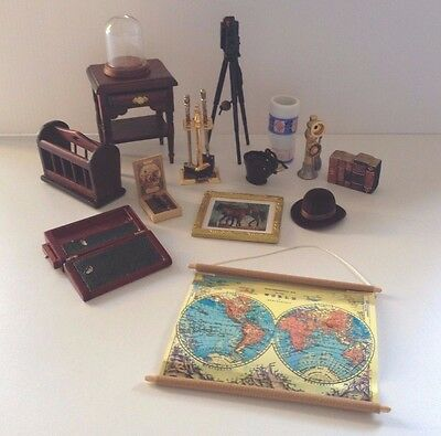 Victorian Gentlemans Room Study Office Mixed Lot Dolls House Items Bundle