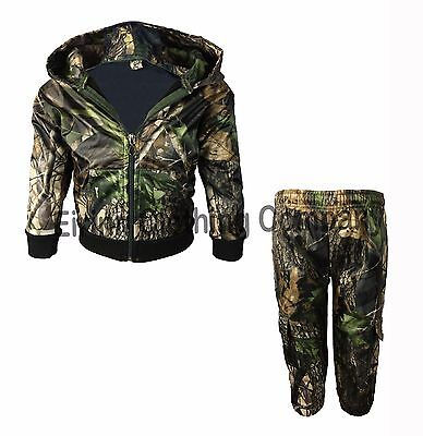 Kids Camouflage Tree Print Hooded Waterproof Hunting Tracksuit Shooting Fishing