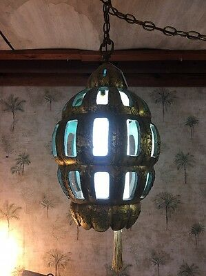 Glass/Pottery Swag Hanging Art Deco Lamp