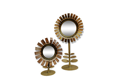 Chaty Pair of Daisy Mirrors, Paire de Miroirs Marguerite Chaty circa 1960