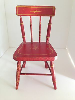 Antique Miniature Red Painted Doll's Chair
