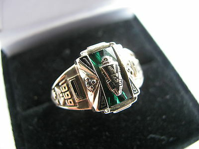 10ct Emerald & Dia NEHS1999 JG College Ring in Yellow Gold 5.6g SZ K 1/2 Us 5.60