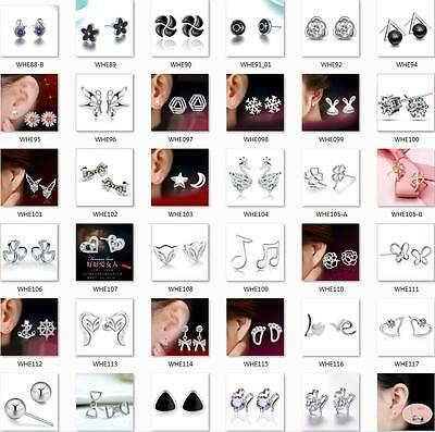 Fashion Jewellery 925 STERLING SILVER Stud Earrings Birthday Gifts Women