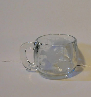 Nescafe Collectible Mug - World Map etched on clear glass