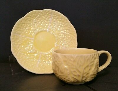 Secla CABBAGE YELLOW Coffe Cup and Saucer Sets (6) * PORTUGAL * MINT *