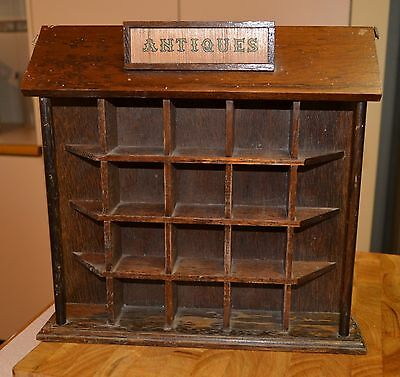 Rustic Vintage Wooden Small Antiques Display Shelf Self Standing or Wall Hanging