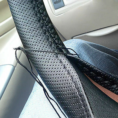 Universal DIY Car Steering Wheel Cover PU Leather With Needle and Thread BLACK