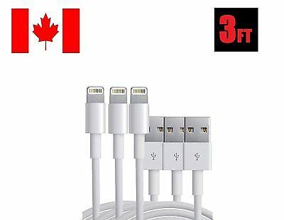 3x 3FT 1M 8 Pin USB Data Sync Charge Charger Cable Cord iPad iPhone 5 5S 6 7
