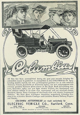 1905 Columbia Automobile Car Original Print Ad Gibson Girl