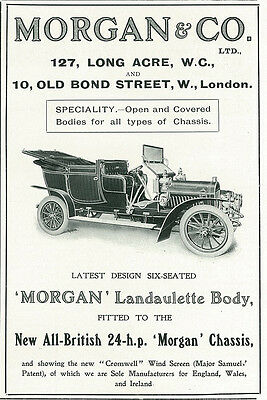 1906 Morgan Landaulette Car Automobile Vintage Original Print Ad