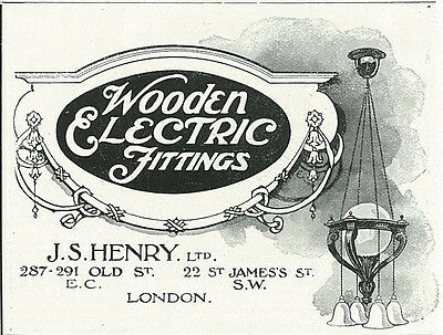 1906 Wooden Electric Fittings London Vintage Original Print Ad