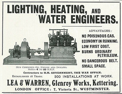 1906 Lea & Warren Lighting Heating Water Engineers Vintage Original Print Ad