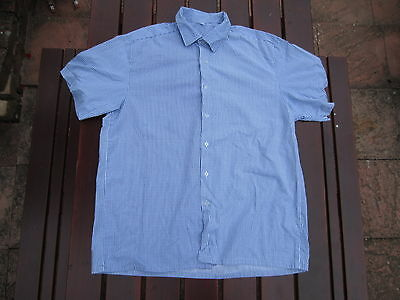 """Hmp Prison Shirt Short Sleeve Blue And White Striped Size Ranging From 15""""to 18"""""""