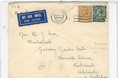 Gb - London: 1931 Air Mail Cover To South Australia (C23396)