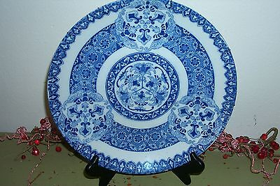 """late 1800's Asian BLUE & WHITE PORCELAIN Serving Platter Plate DISH Charger 12"""""""