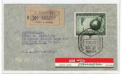 Argentina: 1948 Registered Airmail Cover To Usa Via Panagra (C23414)