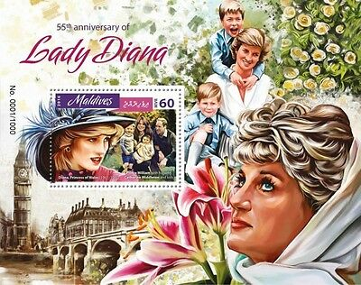 Z08 IMPERFORATED MLD16401b MALDIVES 2016 Lady Diana MNH