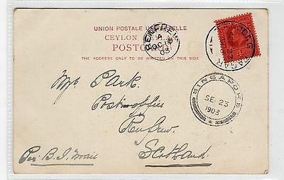 Picture postcard to Scotland with TANJONG PAGAR postmark (C23584)