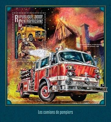 Z08 IMPERFORATED CA16211b CENTRAL AFRICA 2016 Fire trucks MNH