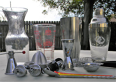Lot Barware Silver Plate etched Federal Glass Martini Stainless Shaker USA