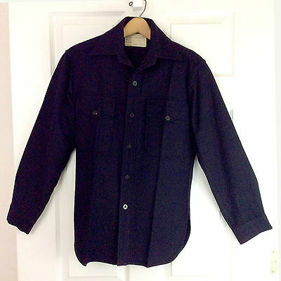 Naval Clothing Factory Vintage WWII USN Navy Two Pocket CPO Wool Shirt Sz 14