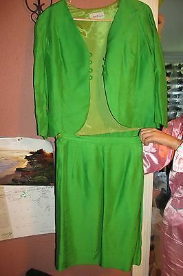 Vintage Green Skirt Vest  and Jacket Suit  Fitted Set Outfit 3pc By JUDY WAYNE