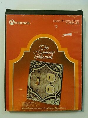 Amerock Monterey Antique Silver Dual Outlet Toggle Light Switch Plate Cover