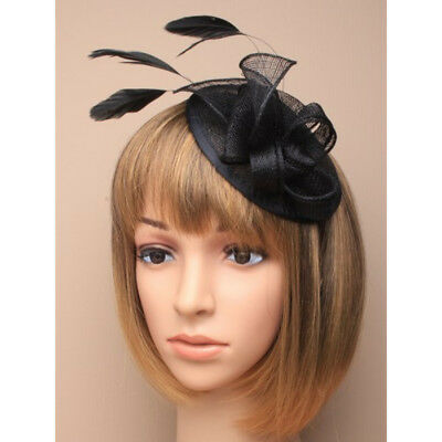 Black Fascinator on Headband/ Clip-in for Weddings, Races and Occasions-5352
