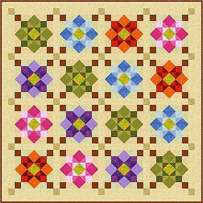 """MORNING AGAIN - 63"""" - Pre-cut Quilt Kit by Quilt-Addicts Small Double size"""