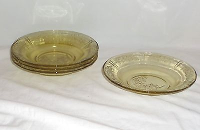 "4 Federal SHARON/CABBAGE ROSE AMBER *7 1/2"" JAM DISHES*"