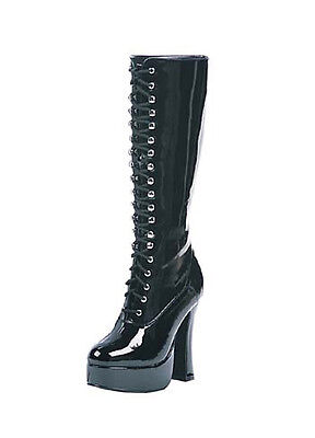 Adult Black Knee High Lace-Up Boots Ellie Shoes EASY