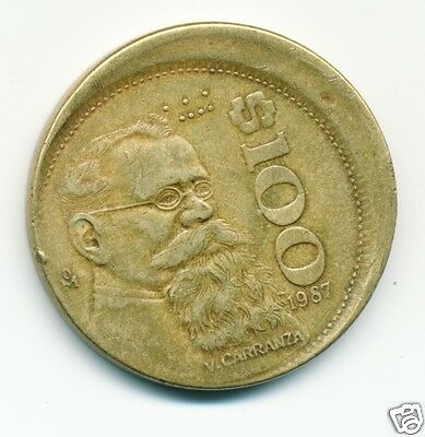 1987 (Mexico) 100 Pesos Coin,  Off Center Mint Error