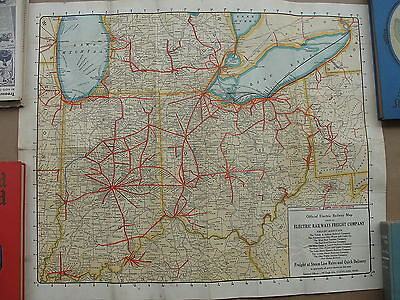 Vintage 1929 Official Electric Railway Map, Electric Railways Freight Company