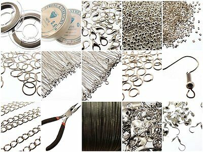 Large Jewellery Making Components Starter Kit inc Tools, Cords, Findings &