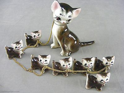 Vintage EFCCO Ceramic Cat Figurine W/8 Kittens-Chips & Tail Repaired