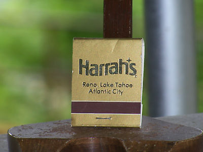 HARRAH'S Reno Lake Tahoe Atlantic City Gold Matchbook Gold Unused