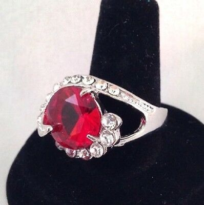 Vintage Cocktail Ring Huge Ruby Red Crystal Rhodium Plate Ornate Classic Retro 7