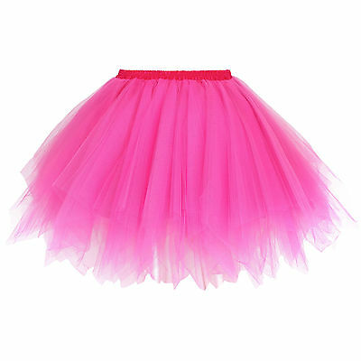 Women's Adult 80s Retro Tutu Fluffy Party Skirt Princess Ballet Pettiskirt