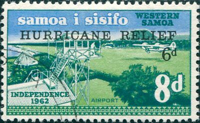 Samoa 1966 SG273 8d Airport with HURRICANE RELIEF ovpt FU
