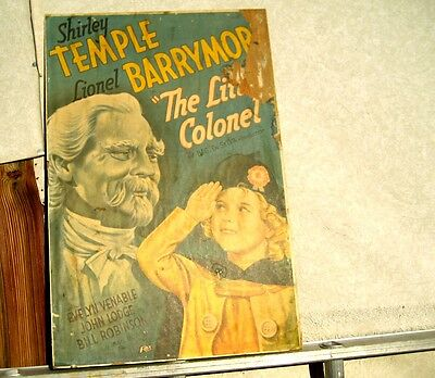 """1930's movie poster Shirley Temple & Lionel Barrymore 28""""x18"""" The little Colonel"""