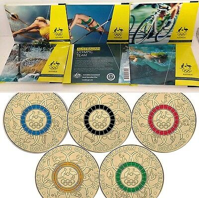 Comple 5 DESIGNS!!! 2016 Coloured $2 AUSTRALIAN OLYMPIC GAMES SET (5 sets)