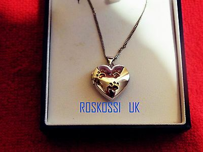 NEW Sterling Silver Heart Shaped Locket Necklace with Gold Plated Paw Prints