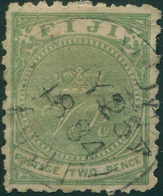 Fiji 1878 SG37 2d yellow-green Crown and VR FU