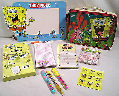 Spongebob LOT,Magnetic Dry Erase Board,Lunch Bag,Notepads,Pens,Gary Sticky Notes