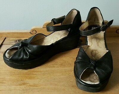 Fly London Black Leather Wedges Sandals Heels Ankle Strap Buckle Size 37 7