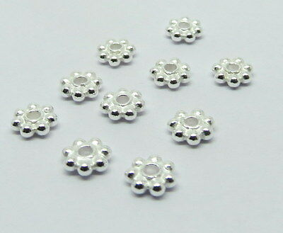 20 Piece 925 Sterling Silver Daisy Spacer Bali Beads 5mm Bright
