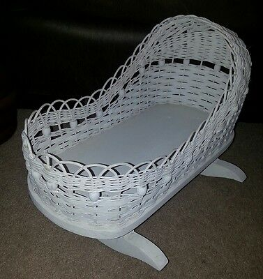 Wood and Wicker Rocking Baby Bed