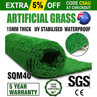 2*20M Artificial Grass Synthetic Turf Plastic Plant Fake Lawn Flooring 15MM New