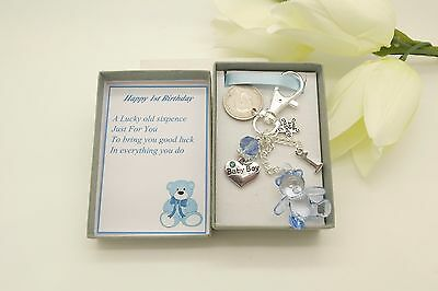 First 1st Birthday Gift. Personalised Teddy Bear Sixpence Charm.Pink or Blue