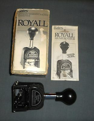 Vintage Bates Royall Auto Numbering Machine (Model  RNM6-7) W/Box & Instructions